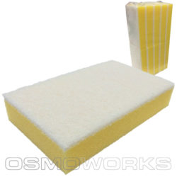 Spons geel met witte schuurpad   Glazenwasserswinkel.nl