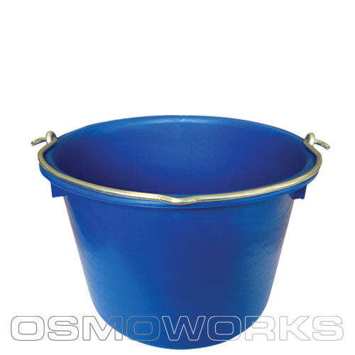 Emmer blauw met RVS oog 12 liter | Glazenwasserswinkel.nl