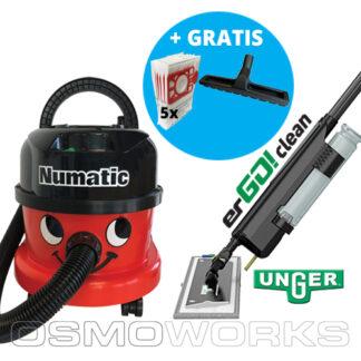 Numatic stofzuiger + Unger erGO! Set Rood Compleet | Glazenwasserswinkel.nl