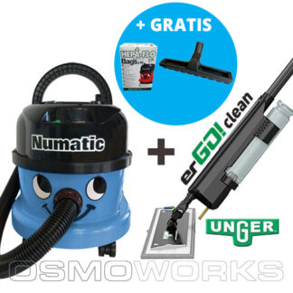 Numatic stofzuiger + Unger erGO! Set Blauw Compleet   Glazenwasserswinkel.nl